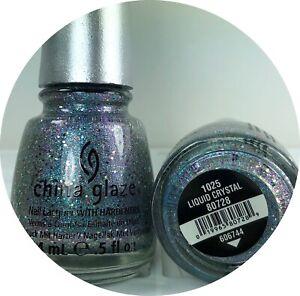 China Glaze Nail Polish LIQUID CRYSTAL 1025 Sky Blue Holographic Glitter Lacquer