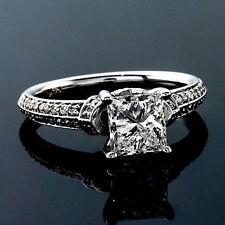 1.53 CT PRINCESS CUT CERTIFIED DIAMOND ENGAGEMENT RING 14K WHITE GOLD ENHANCED