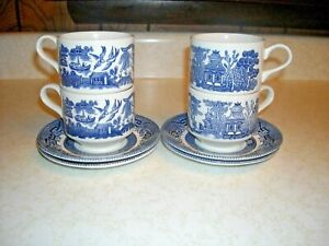 Blue Willow China Set of 4 Cups and Saucers by Churchill Made in England Vintage