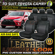 Leather LOOK Seat Covers to Suit TOYOTA CAMRY ASV50R 2ROWs 12/2011-2016 BLACK