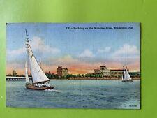 1945 Bradenton Florida Yachting on the Manatee River Linen Postcard