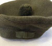 Scottish Tam O Shanter Hat, Army, Military, Khaki Green Bonnet, Scotland Cap