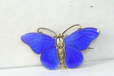 VINTAGE DENMARK NORWAY STERLING SILVER BLUE ENAMEL BUTTERFLY PIN