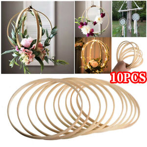 10PCS Traumfänger Ring Runde Holz Bambus Reifen DIY Bastelwerkzeuge 10 - 40CM