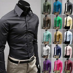 Men Casual Fashion Slim Fit Long Sleeve Casual Business Formal Dress Shirts Tops