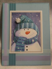 Burgoyne Handmade - Snowman in Blue - Christmas Greeting Card - NEW