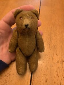 Antique Small 5 Inch Tall Teddy Bear with Glass Eyes & Jointed Arms & Legs #1