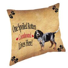 Coonhound Bluetick Puppy Spoiled Rotten Dog Throw Pillow 14x14