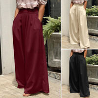 UK Ladies Wide Leg Loose Harem Pleated Culotte Palazzo Trousers Skirt Women 8-26