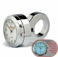 "Marlin's Adj Ring Motorcycle 1 1/4"" Handlebar Clock Push Button Backlit White"