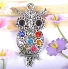 FREE SHIP 1pcs tibet silver crystal owl charm 48MM SH135