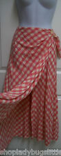 RALPH LAUREN COUNTRY PINK & WHITE ROCKABILLY GINGHAM COTTON PRAIRIE WRAP SKIRT