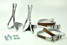 NEW ATOZI BIKE BICYCLE TRACK PEDAL STEEL TOE CLIPS & LEATHER STRAPS Set - BROWN