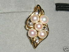 SOLID   14K Gold   AKOYA  Pearl   DIAMOND   Pendant  Enhancer