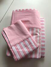 Vintage New Pequot Luxury Muslin Twin Sheet Pink & White Striped Set
