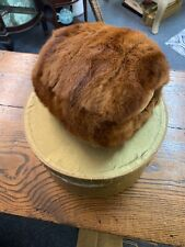 Lined Vintage Mink Brown Fur Muff Wristlet Hand Warmer W/ Pocket And Box