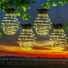 Garden Solar Powered Pineapple Hanging LED Lights Warm White Outdoor Décor