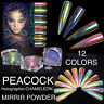 NEW! CHAMELEON PEACOCK 12 colors HOLOGRAPHIC Nail Art Powder Nails Mirror Chrome