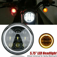 5.75'' 5-3/4Moto Phare Projecteur LED Headlight Lamp Halo Angel Pour Jeep Harley