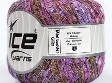 Lilac Bough Mini Ladder Glitz Yarn #47230 Ice Purple Brown Metallic Ribbon 50g