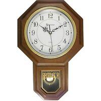 """TIMEKEEPER 180WAGM Timekeeper Essex 17"""" Modern Pendulum Wall Clock (Faux Wood)"""