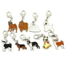 Lot of 9 Enamel Dog Charms Necklace Bracelet Zipper Pull ANIMAL RESCUE DONATION