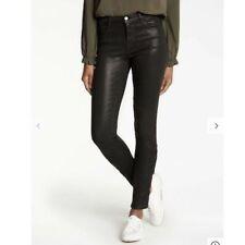 NEW J Brand sz 32 Skinny Jeans Black Coated Waxed Lace Hem Mid Rise Photo Ready