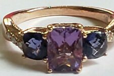 Le Vian 14k Rose Gold 8x6 Amethyst Cushion Cut 5mm Iolite DIamond Size 8 RIng