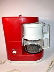 Vintage Mini MCM Krups Brewmaster Jr #170 4 Cup Coffee Maker Hot Red See pics