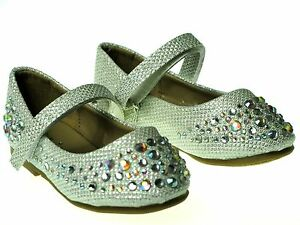 New  Baby Toddler Girls Studded Rhinestone Dress Shoes Flats SlipOn Pageant