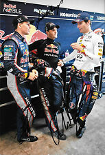 Webber/ Whincup/ Lowndes SIGNED 12x8, Red Bull Demo ,Clipsal 500 Adelaide 2013.