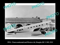 OLD HISTORIC AVIATION PHOTO OF TWA AIRLINES, DOUGLAS DC1 AIRCRAFT 1933