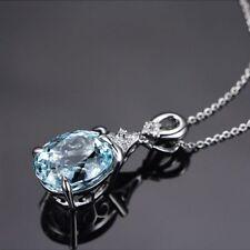 Women Blue Gemstone Crystal Aquamarine Pendant Silver Chain Necklace Jewelry New