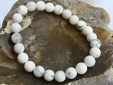 Men's Elastic Bracelet Gemstone 8mm WHITE TURQUOISE beads matt frosted