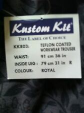 ***** REDUCED***** BRAND NEW WITH TAGS WORK TROUSERS.ROYAL BLUE. TEFLON COATED