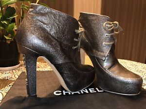 Authentic Chanel Grey Leather Steel High Heel Lace Up Bootie Size 37