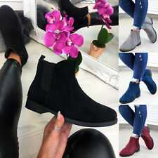 New Womens Ladies Chelsea Ankle Boots Zip Casual Flat Shoes Sizes 3-8