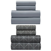 Two Pack Set of Twin Sheets Solid Grey and Print Polyester Back To School