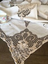 Vintage White Cotton Embroidered And Lace Tablecloth