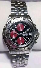 Vintage Men Actua Watch Chronograph Silver Case Steel Band Black Face Red Acc