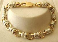GENUINE 9ct 9K SOLID Gold TWO COLOUR NEW DESIGN BELCHER BRACELET 19.5, 21 cm
