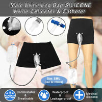 Upgrade Incontinence Male Urine Leg Bag SILICONE Urine Collector with Catheter