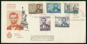 Mayfairstamps San Marino FDC 1959 Aberham Lincoln Combo First Day Cover wwo_6771