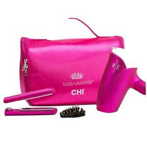 CHI Miss Universe Travel Kit Hair Dryer Flat Iron Hair Clips Hair Serum Case
