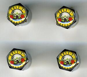 Guns N' Roses 4 Chrome Plated Brass Tire Valve Caps Car/Bike/Golf Cart