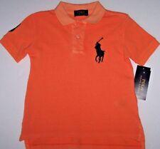 NWT Polo Ralph Lauren POMPANO ORANGE Shirt Toddler Boys 2/2T BIG NAVY BLUE Pony