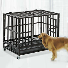 "48"" Dog House Heavy Duty Pet Crate Kennel Cage Metal Playpen W/ Tray Castor"