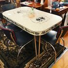 Vintage Formica Grey Table Top with Four black reproduction chairs