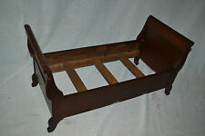 """Antique Vtg Wood Child Baby Doll Sleigh Bed  Furniture  25 1/2"""" long"""