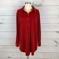 Soft Surroundings #29695 Red Velvet Tunic Shirt Top Sz L Button Down Collared